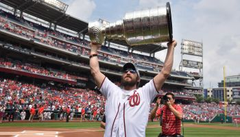 Players From the Washington Capitals NHL Hockey Team Are Feted by the Washington Nationals Baseball Team