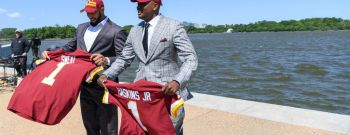 Press conference to unveil new Redskins draft picks Dwayne Haskins and Montez Sweat , at the Jefferson Memorial