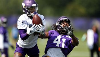 Minnesota Vikings wide receiver Stefon Diggs (14) caught a pass over safety Anthony Harris (41) during Minnesota Vikings training camp at TCO Performance center Saturday July 28, 2018 in Eagan, MN. ] JERRY HOLT • jerry.holt@startribune.com